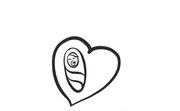 a swaddled baby in a heart icon