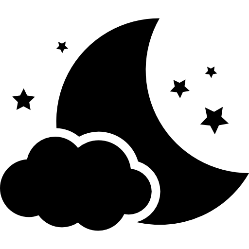 clouds, moon, and stars icon