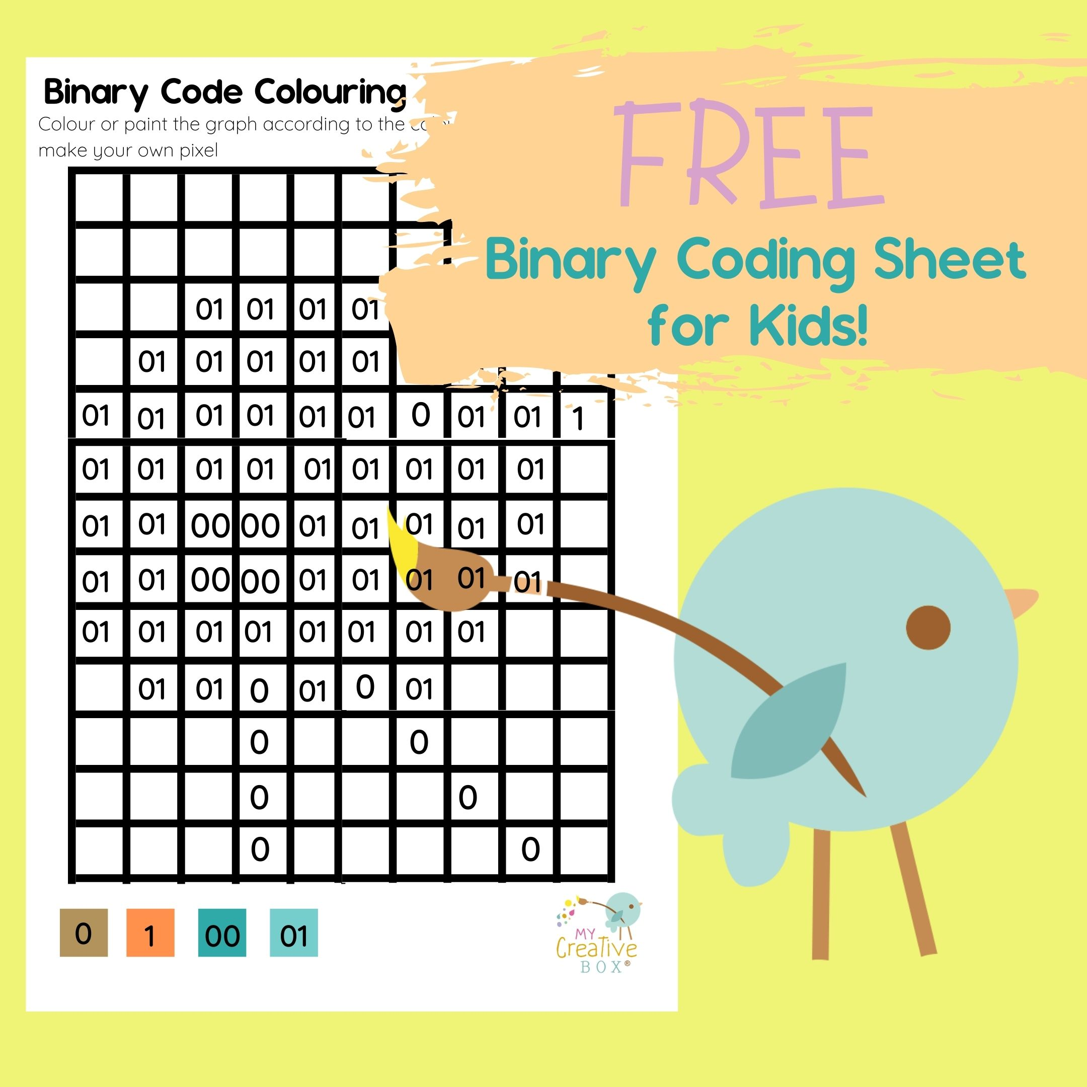 free binary coding activity for kids pixel colouring activity for kids offline coding stem
