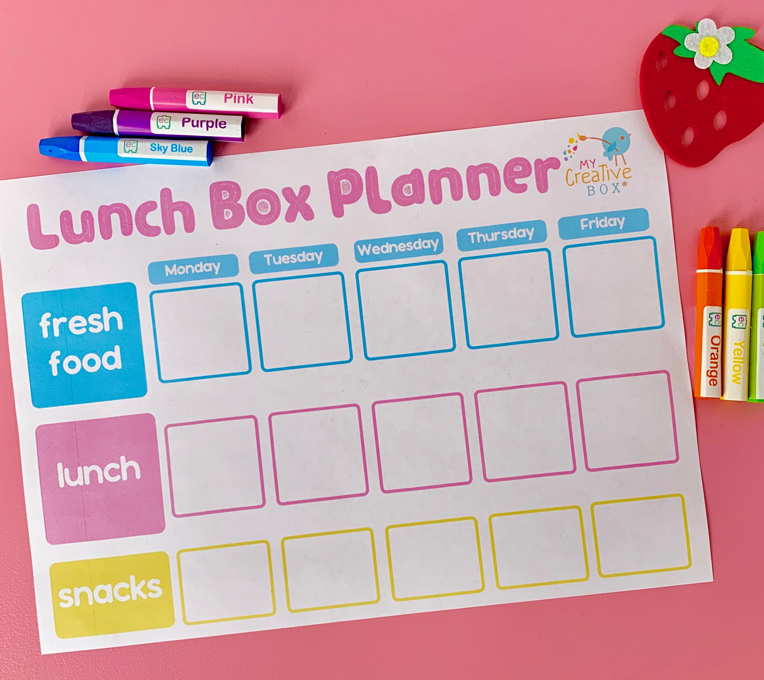 Lunch Box Planner printable FREE for busy families