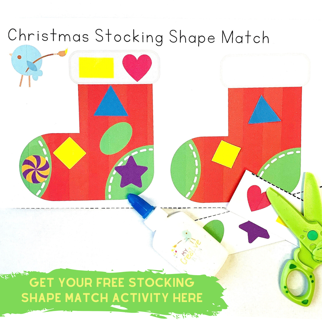 Christmas Stocking shape Match maths activity for kids and toddlers