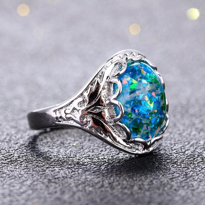 Sterling Silver 925 Opal Ring with Bezel Setting Stone