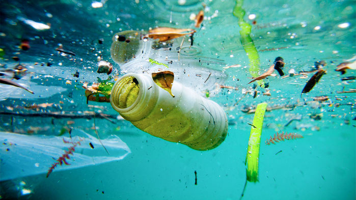 plastic bottle and other pollution in the ocean