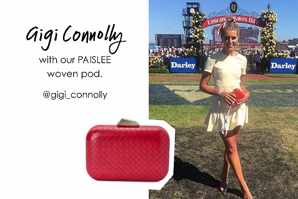 Gigi Connelly wearing our Paislee pod in Red