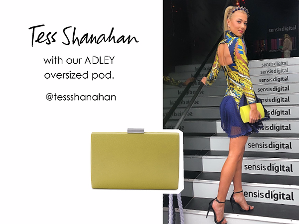 Tess Shanahan wearing the Adley clutch