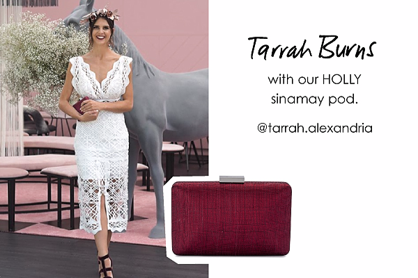 Tarrah Alexandria with our Holly sinamay clutch