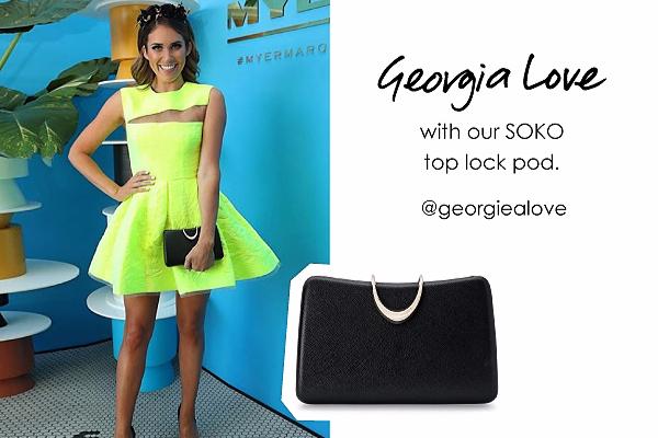 Georgia Love wearing the Soko top lock shoulder bag