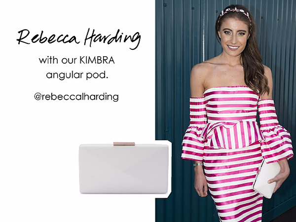 Rebecca Harding wearing the Kimbra Angular clutch