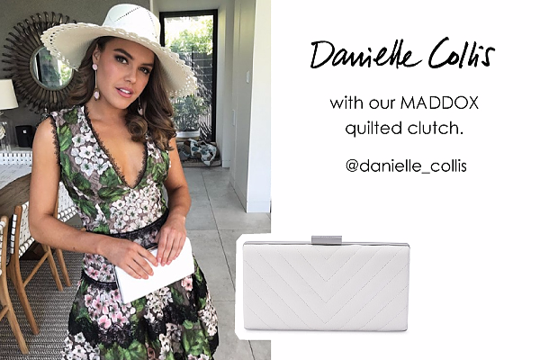 Danielle Collis wearing our Maddox clutch in White