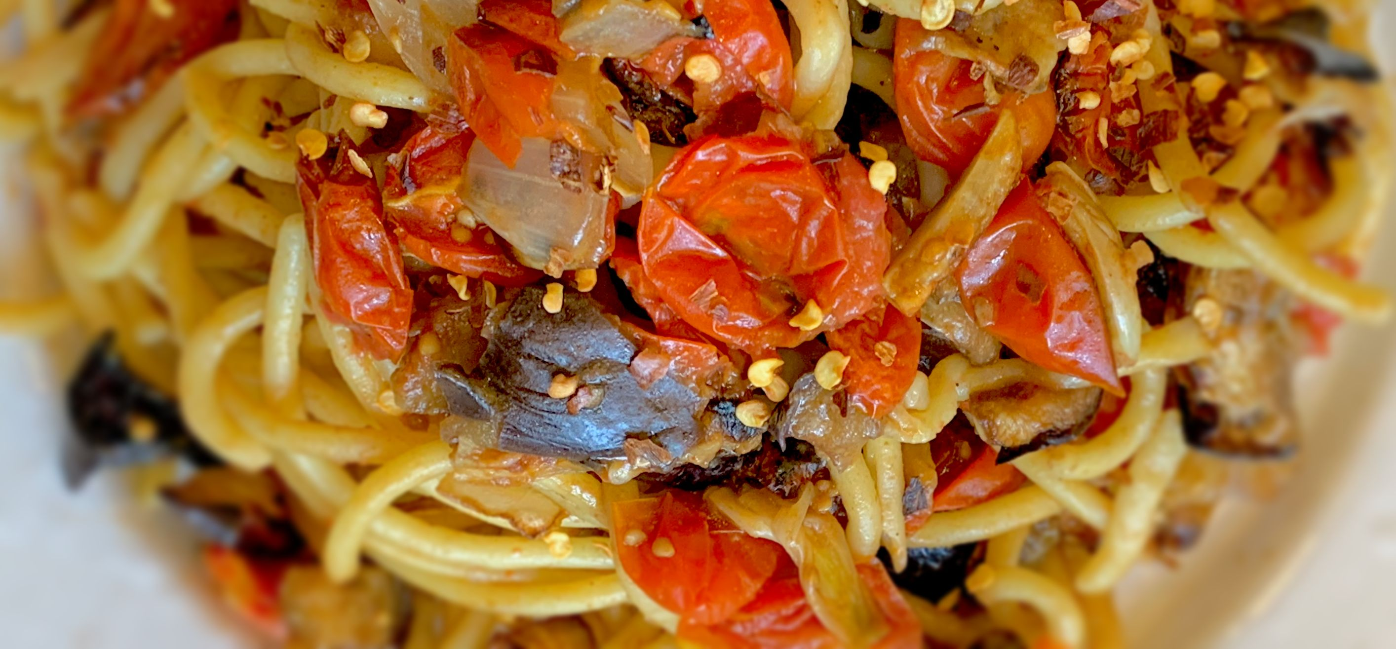 Slow-Roasted Tomato and Eggplant Bucatini Pasta