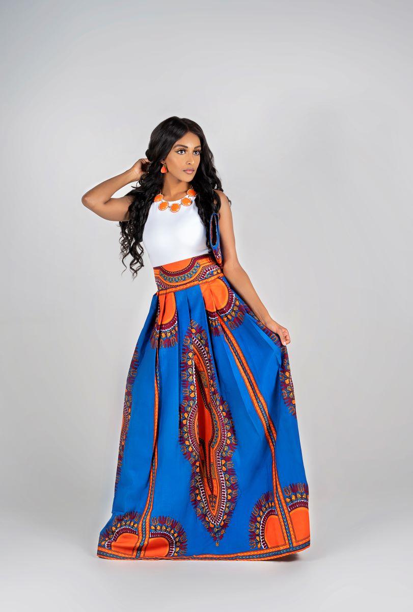 African Print Omai Maxi skirt