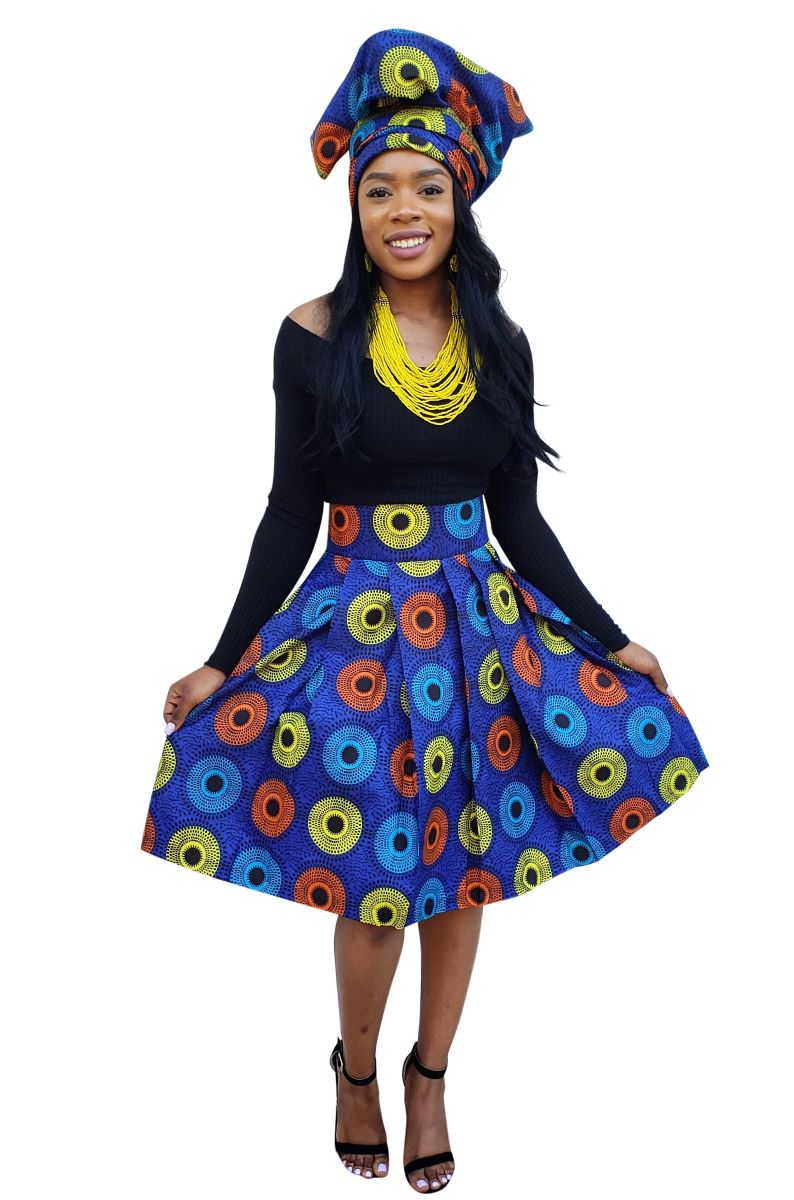 Blue Record African Midi Skirt