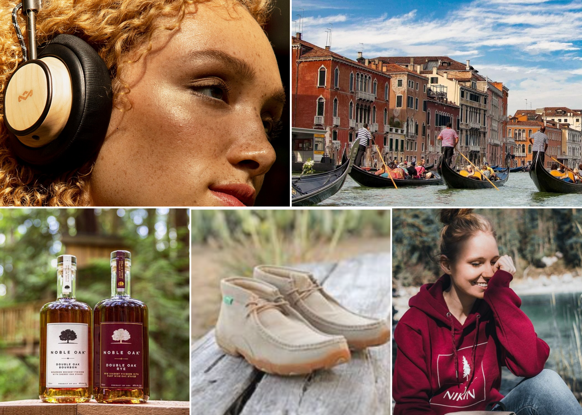 Collage of woman wearing headphones, bottles of bourbon, multi colored shoes, woman wearing red sweatshirt in nature, and gondolas in italy