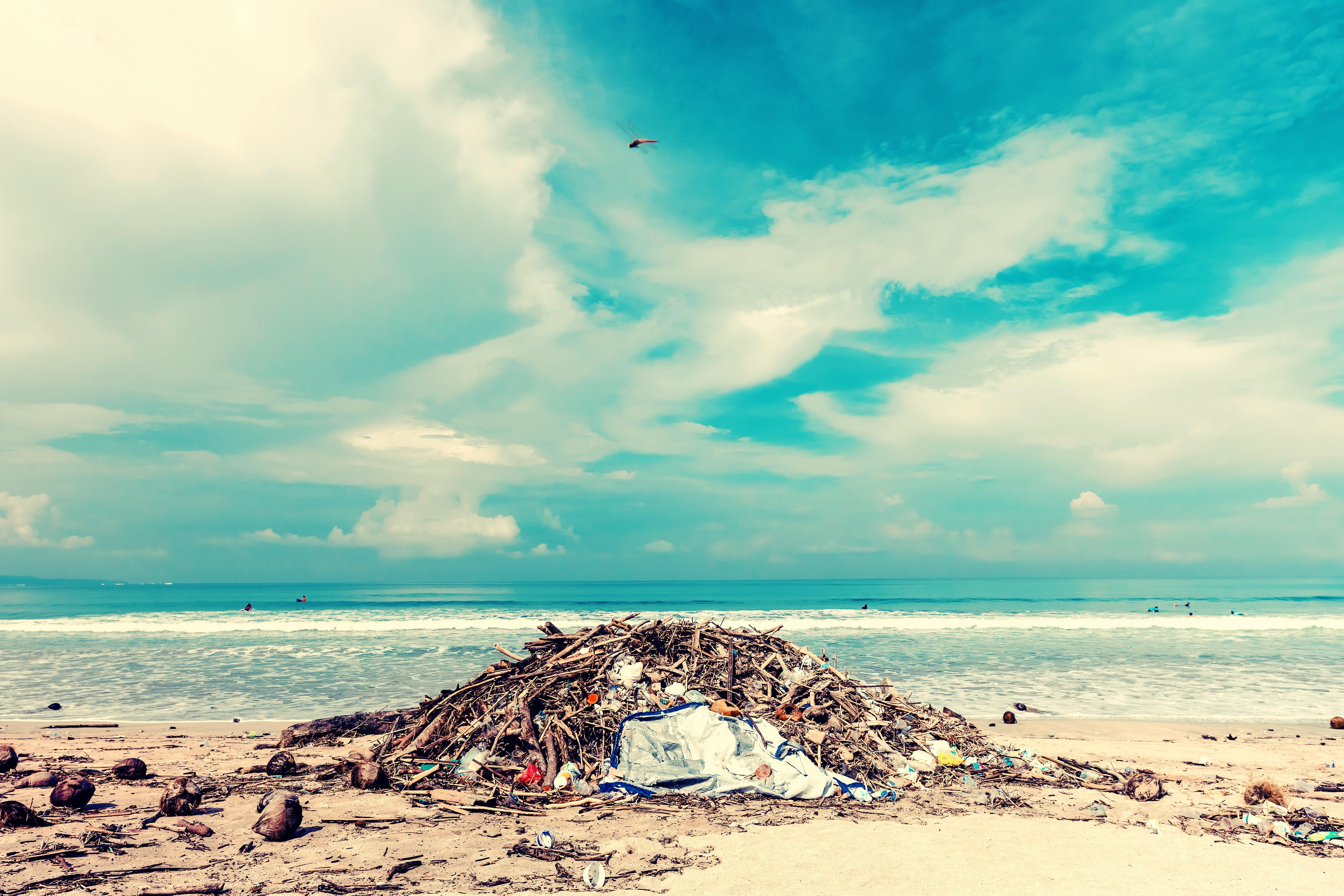 pile of gabage on beach