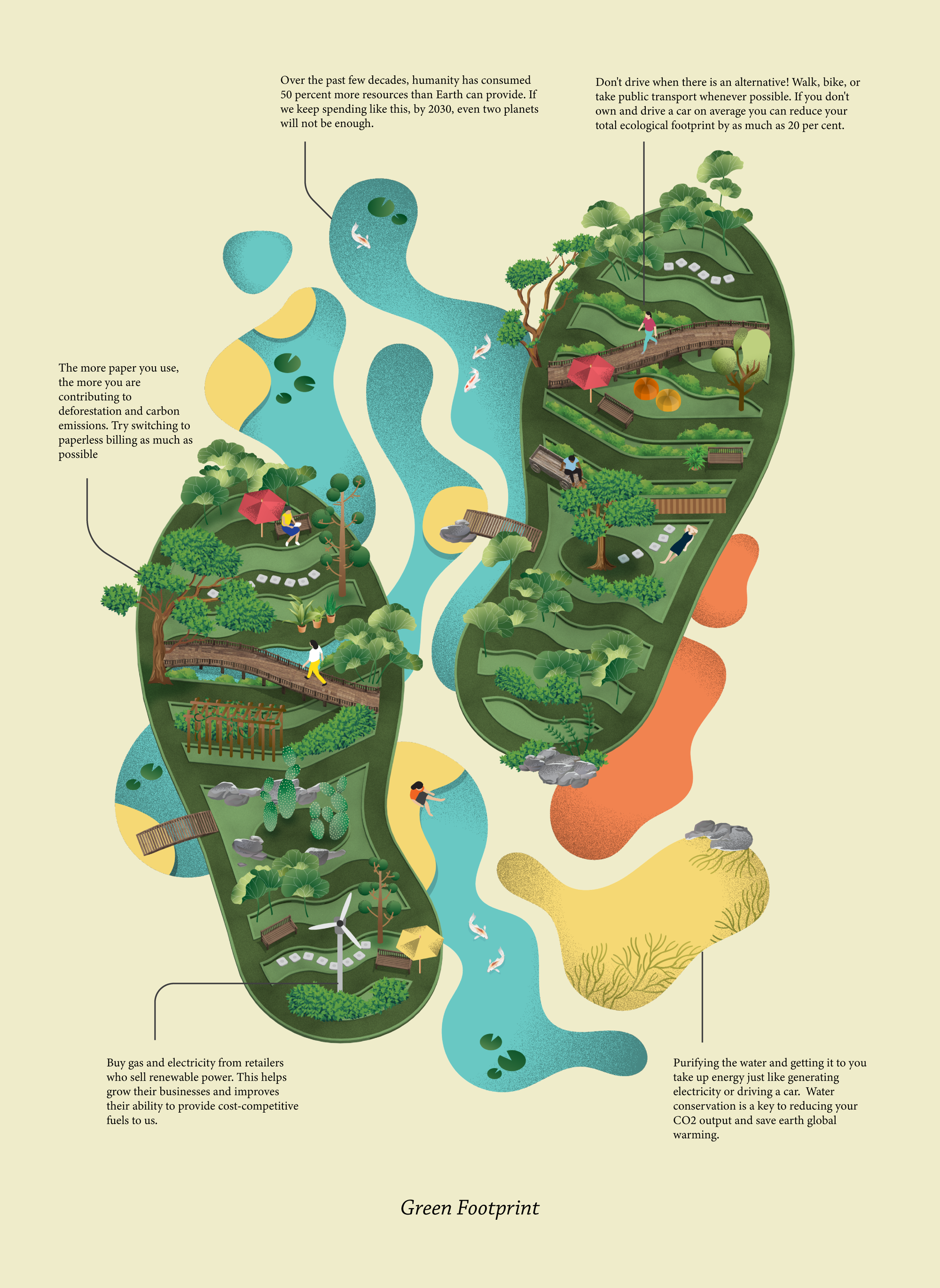 illustrated image of two footprints in green along with lots of trees and other greenery inside them to symbolize environmental footprint, along with factual text along the sides