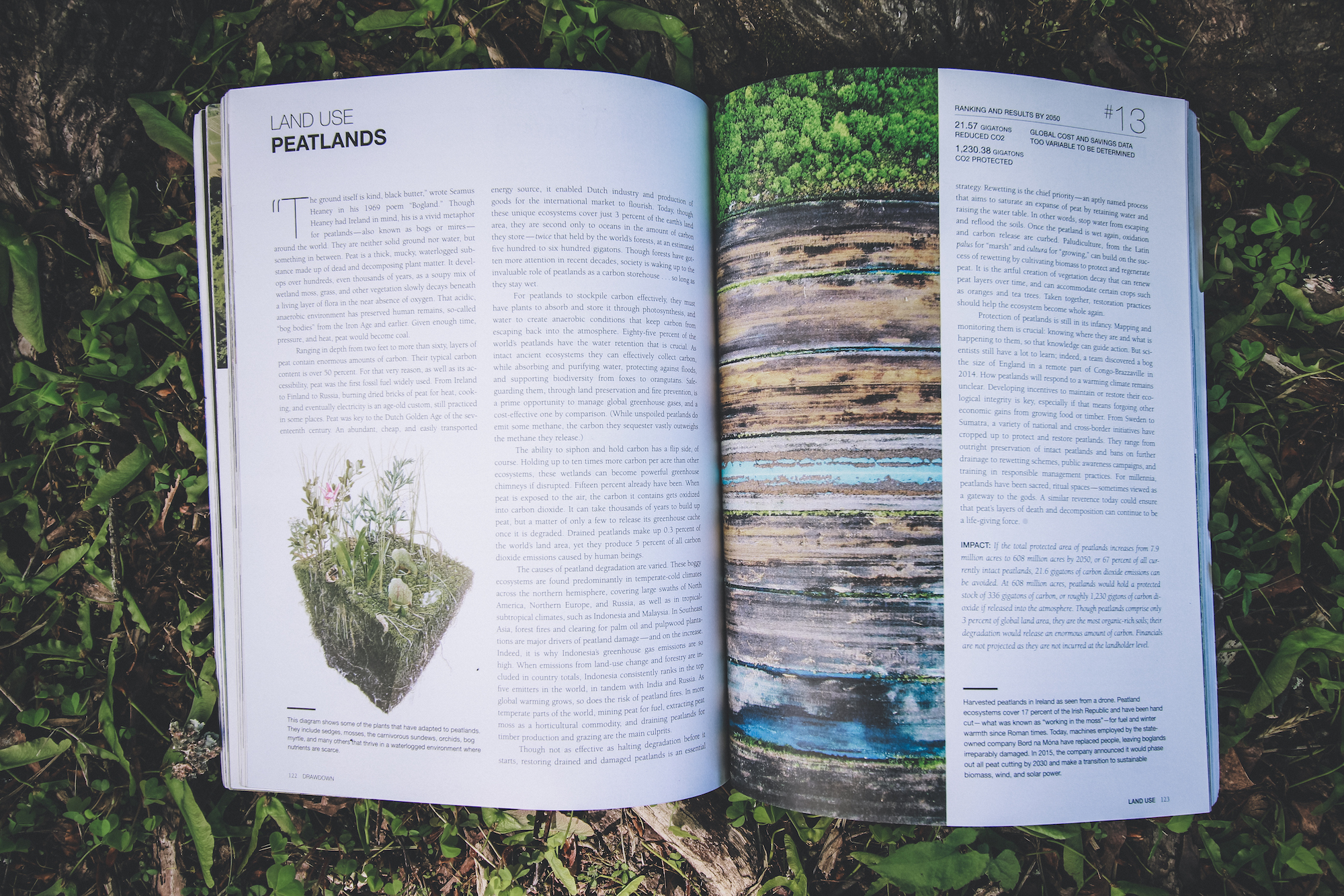 Open Drawdown book on a grassy forest floor, open to the pages about managing peatlands to address global warming
