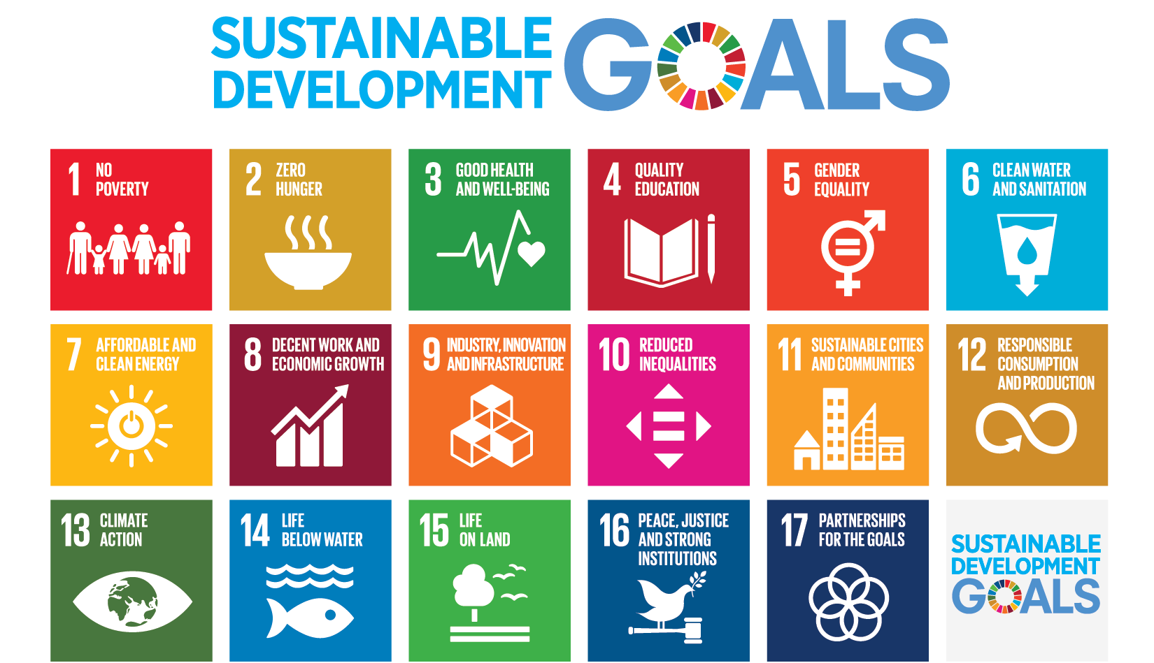Sustainable Development Goals icons in a grid pattern