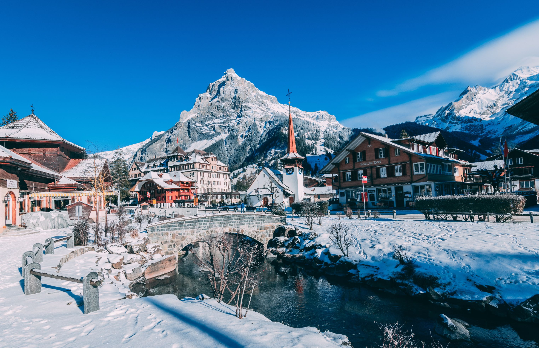 snowy swiss town