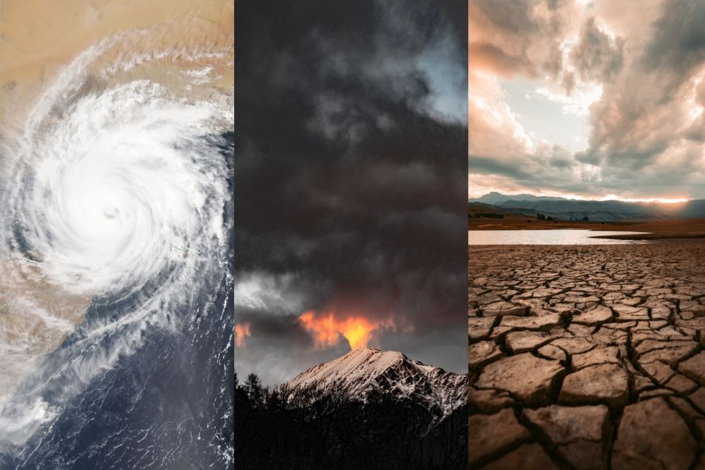 collage of three pictures: a hurricane, a forest fire, and a drought