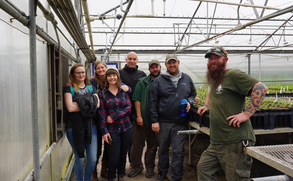 Tree planters and One Tree Planted staff at the Colorado state forest service nursery