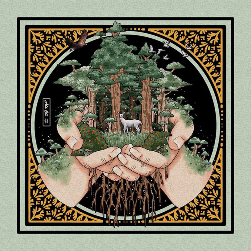 hands holding trees with deer