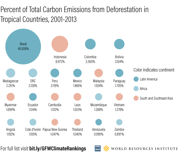 bubble graph showing percentage of total carbon emissions from deforestation in tropical countries