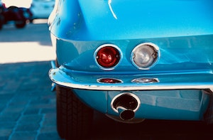 bright blue muscle car exhaust
