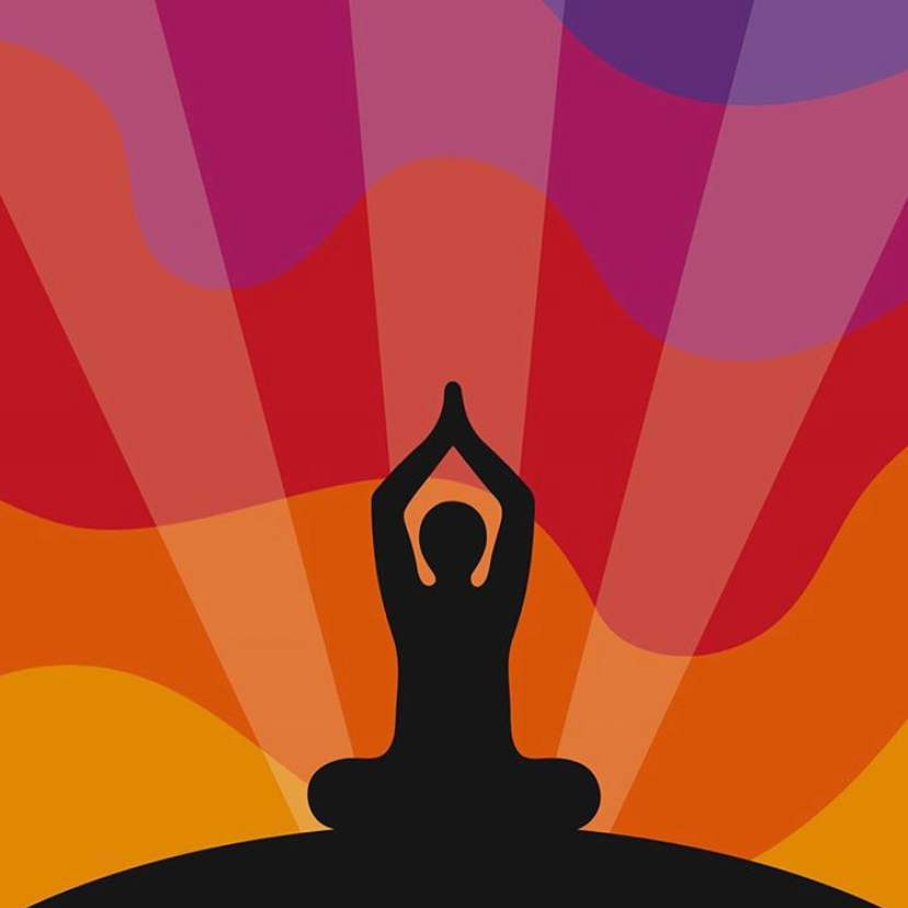 Rainbow image of woman doing yoga