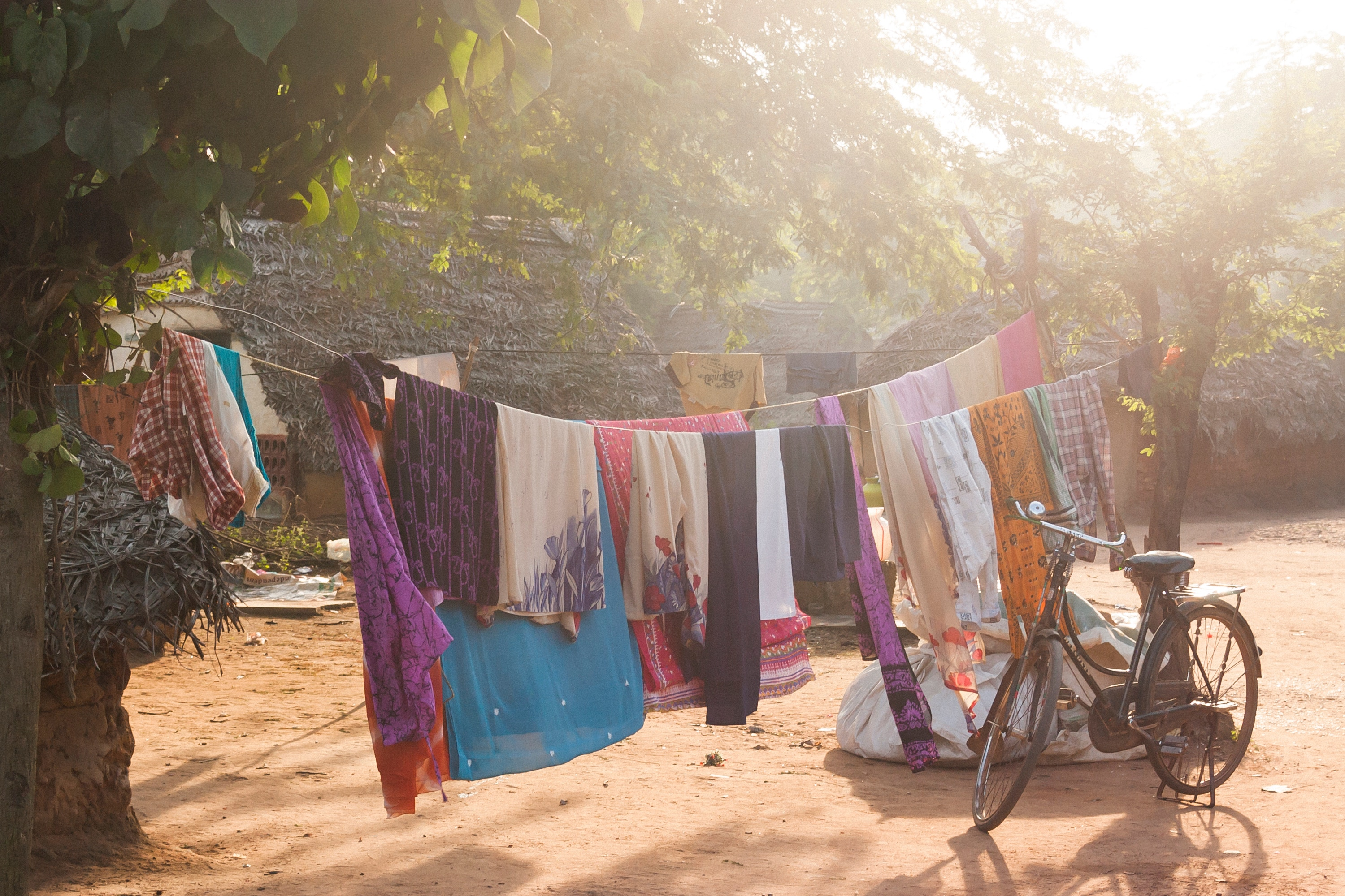 Clothes hanging to dry in a sunset