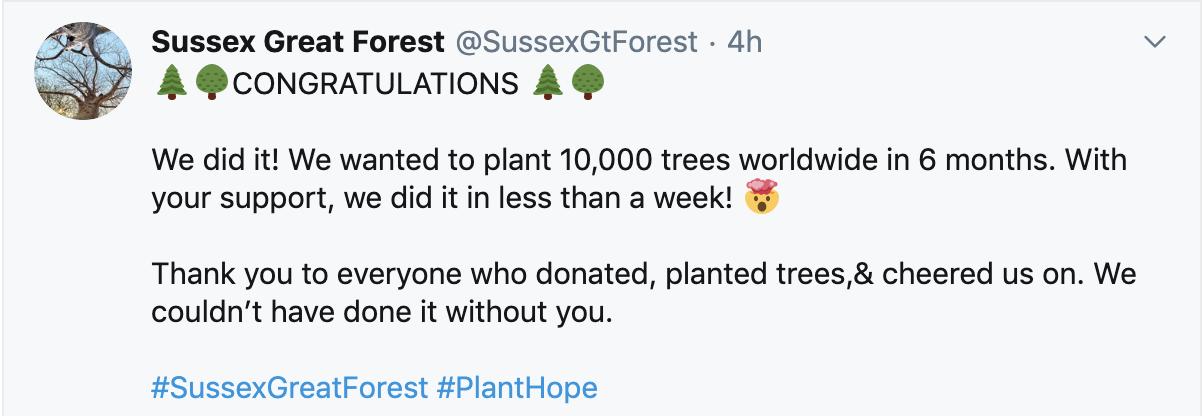 Screenshot of twitter post