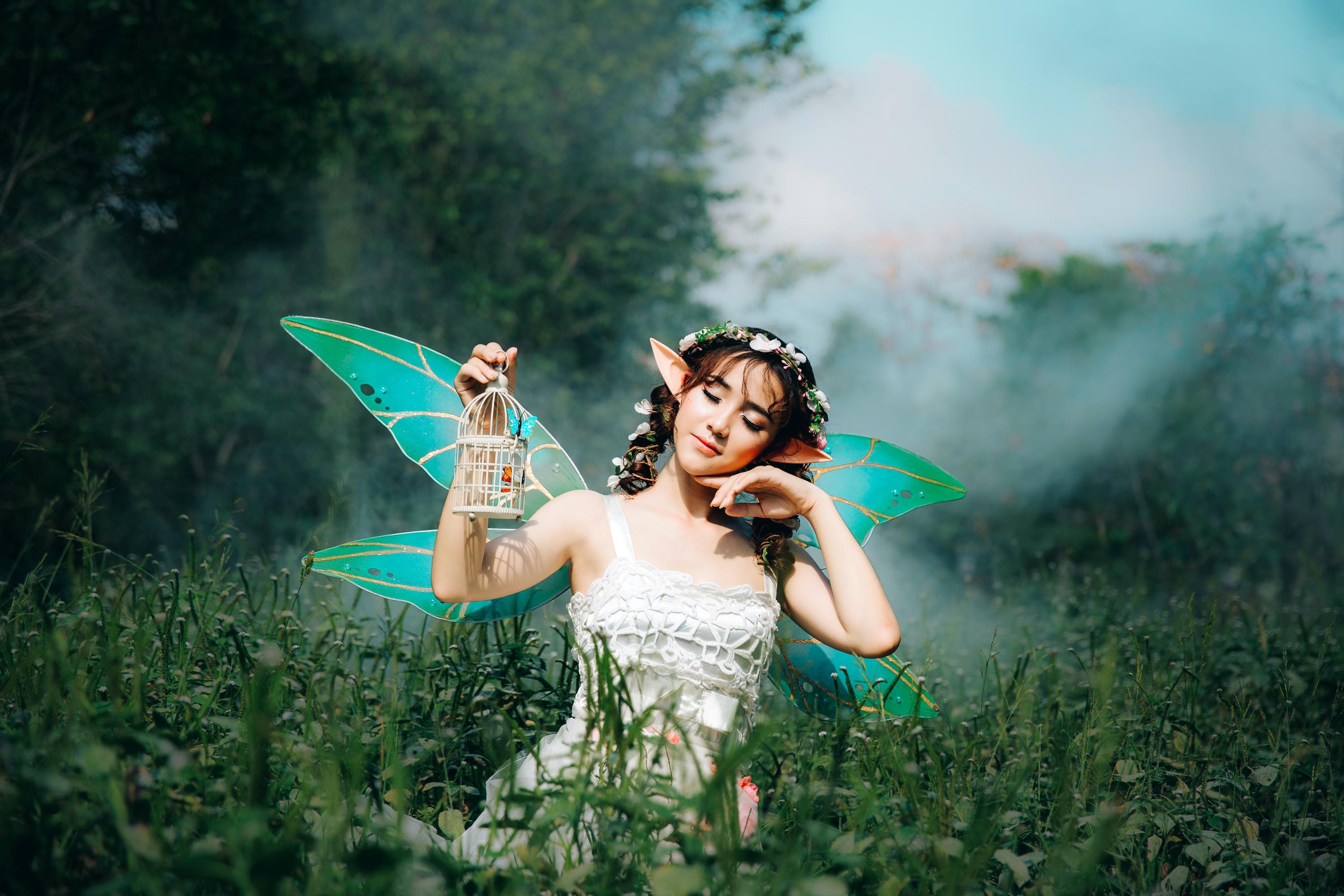 woman dresses as a fairy