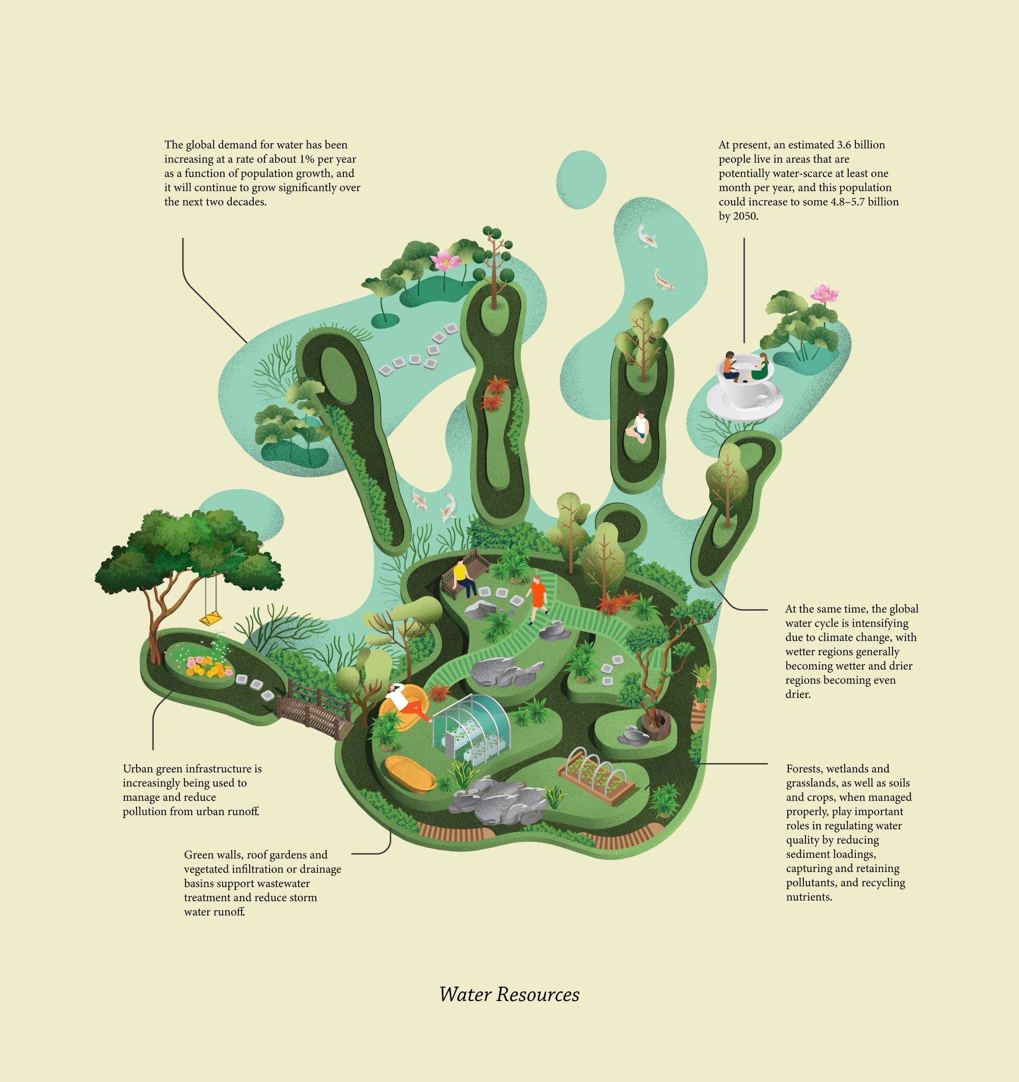 illustrated image of a human handprint with lots of water and greenery woven throughout, along with facts that relate to water resource management