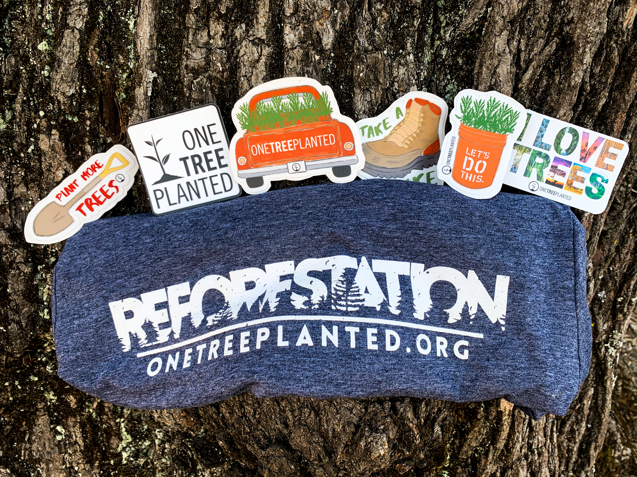 Trees with t-shirts and stickers