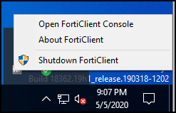 Open FortiClient Console