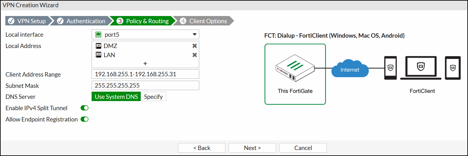 FortiGate IPsec Wizard - Policy & Routing