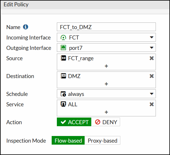 Change outgoing interface in policy