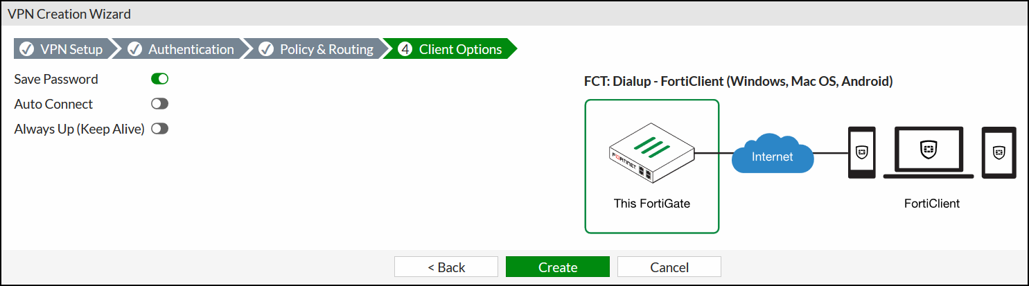 FortiGate IPsec Wizard - Client Options