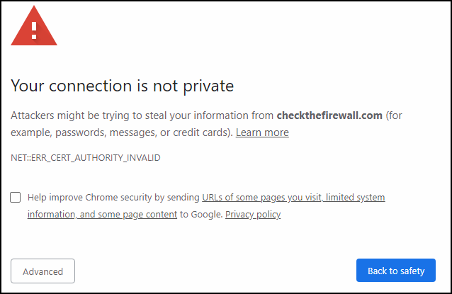 Certificate error caused by SSL inspection