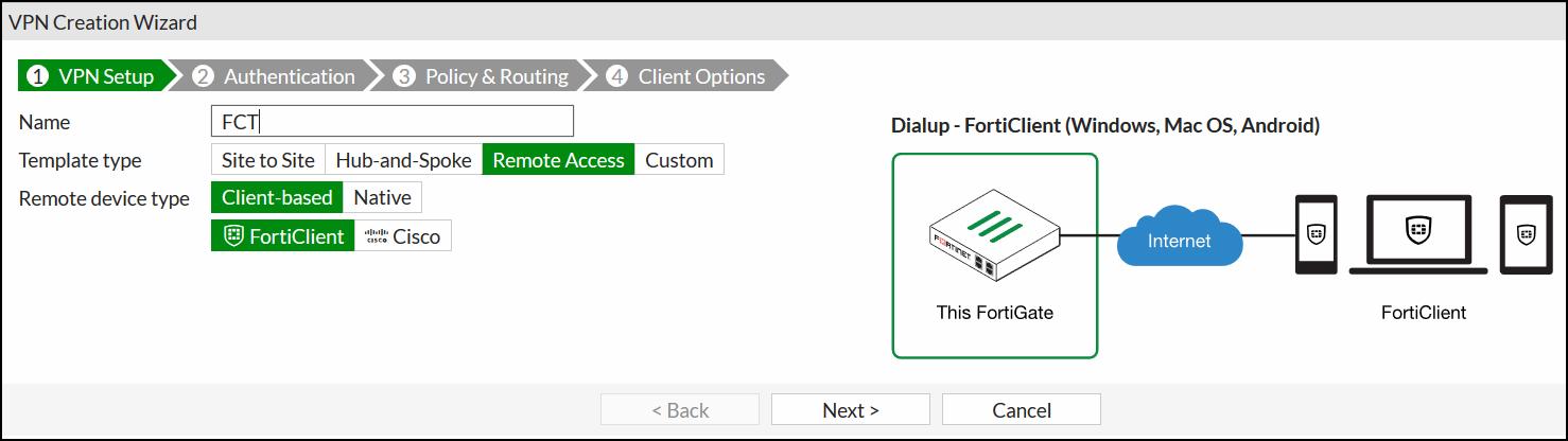 FortiGate IPsec Wizard - VPN Setup