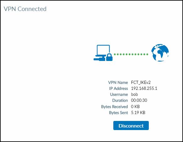 FortiClient IPsec VPN - Connected