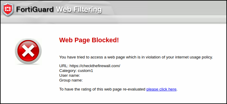 FortiGuard Web Filtering Replacement Message