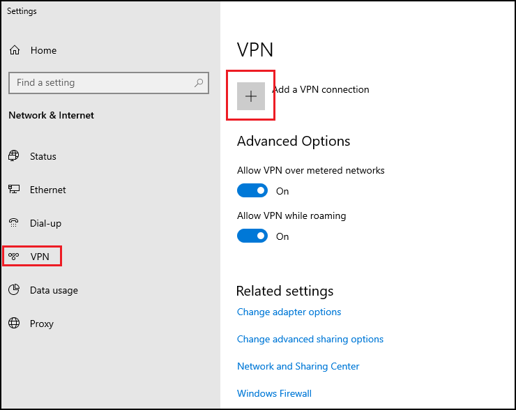 Windows native VPN client - creating new connection