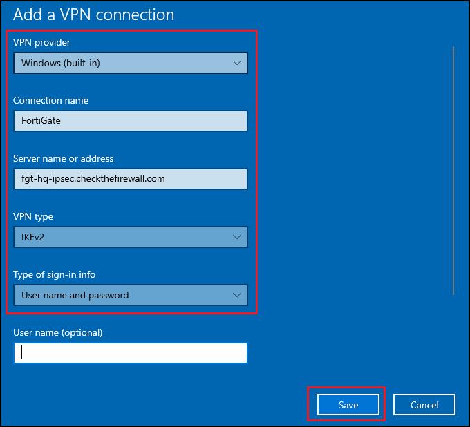 Windows native VPN client - New connection