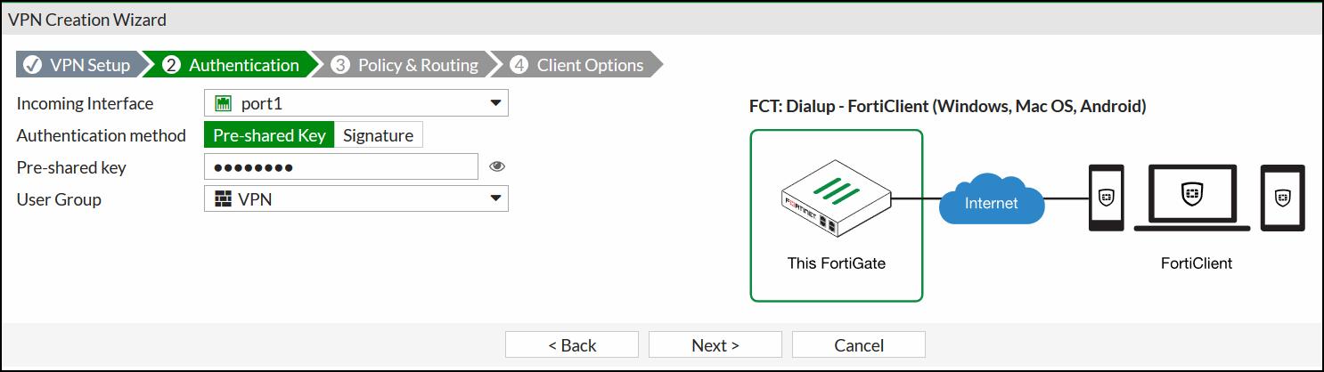 FortiGate IPsec Wizard - Authentication