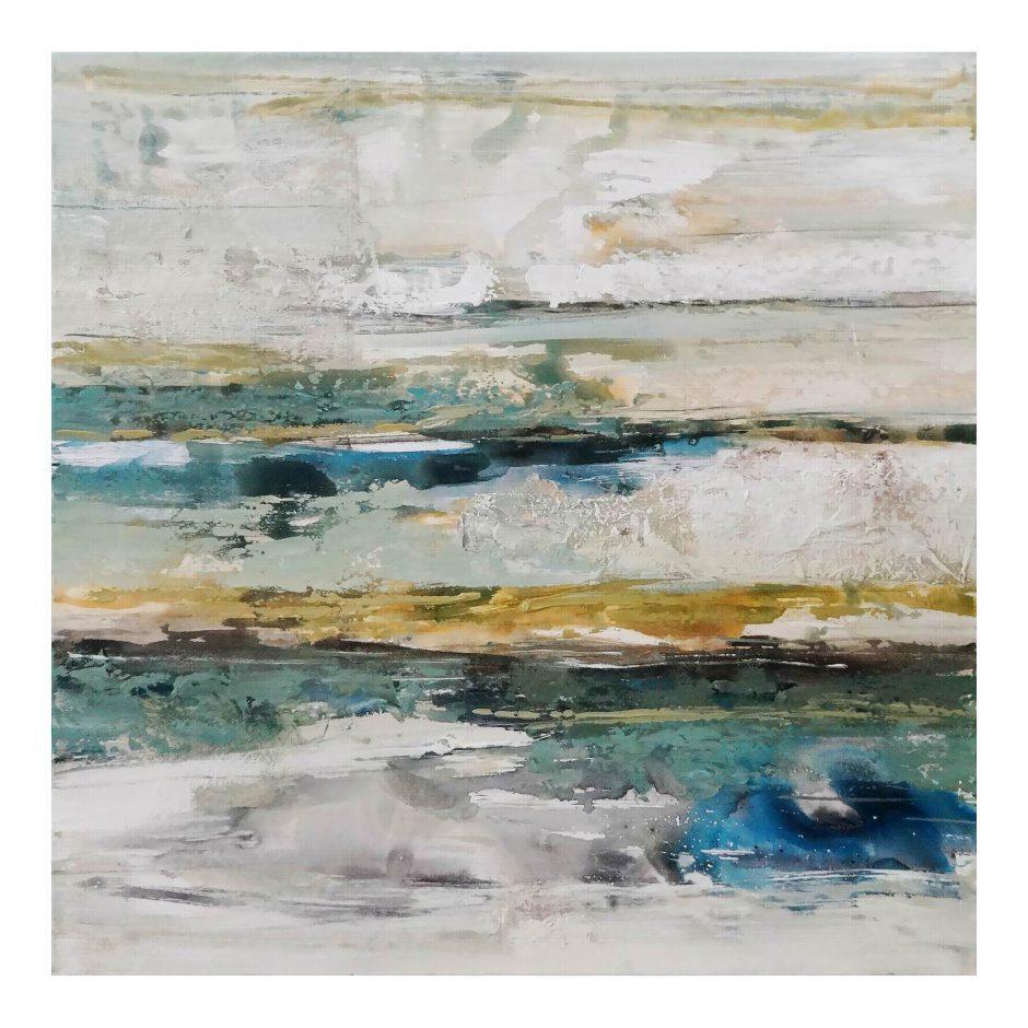Aura Acrylic Painting teal, blue, gold