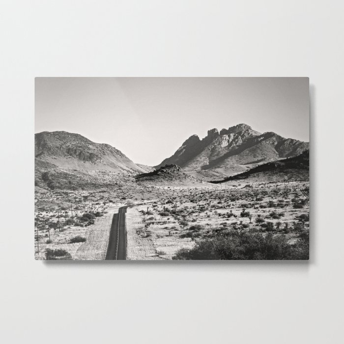 The Lost Highway III Black & White Metal Wall Art Print by Ann Hudec