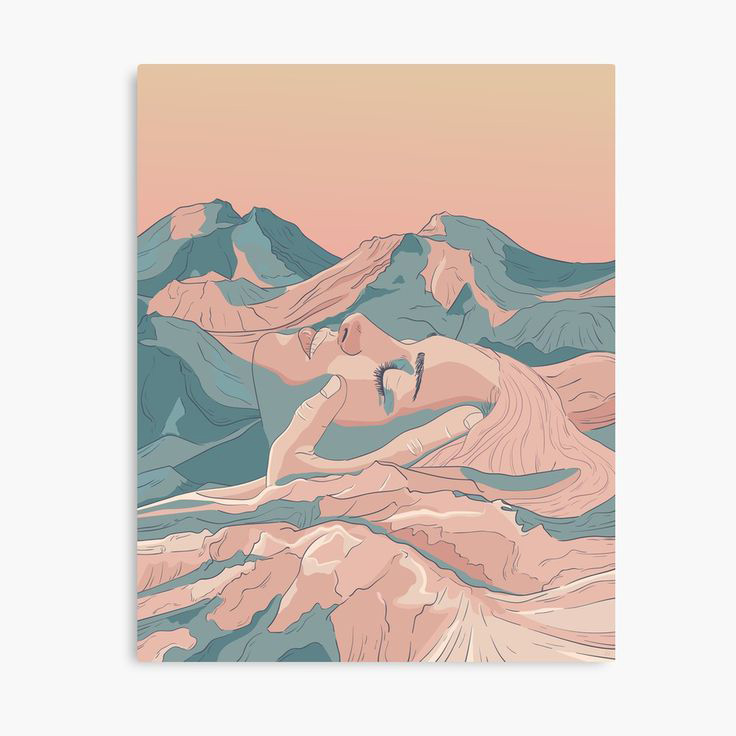 I Saw Her Face In The Mountains Canvas Wall Art Print Designed by Strange City