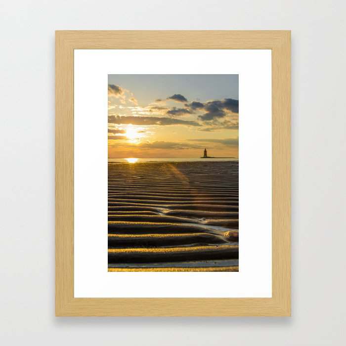 Sandbars and Sunset at Cape Henlopen - Landscape Photograph Coastal Sunset Artwork Framed Art Print by PIPA Wall Art & Home Decor