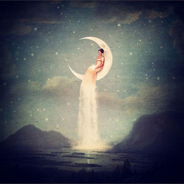 Moon River Lady Landscape Wall Art Canvas Print Designed by Paula Belle Flores