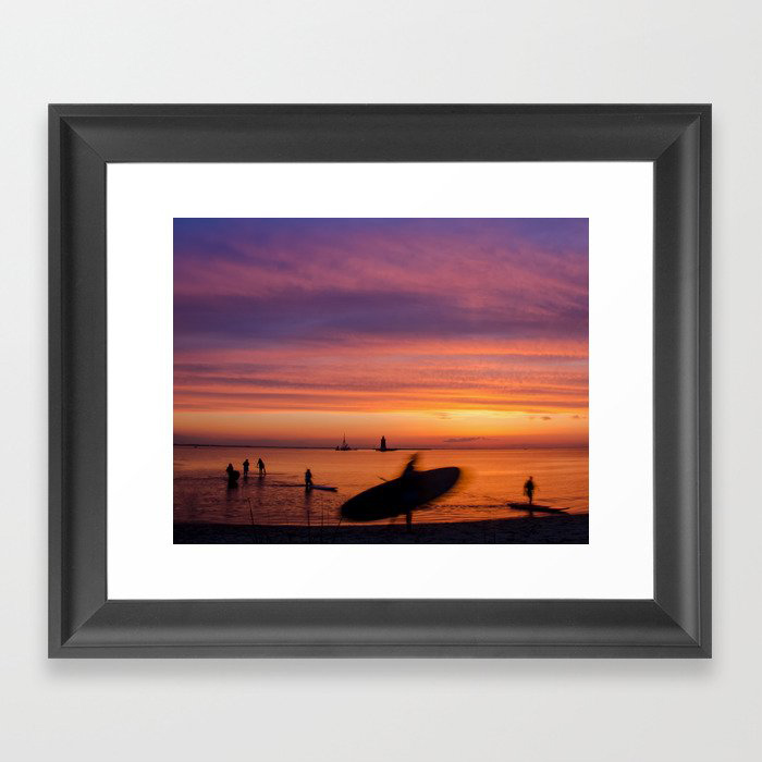 Beach Art Landscape Photograph - Paddle Surfer in the Sunset Framed Art Print by PIPA Wall Art & Home Decor